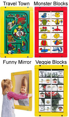 Traveltown, Mosterblox, Mirror, Veggieblox Wall Activity Game
